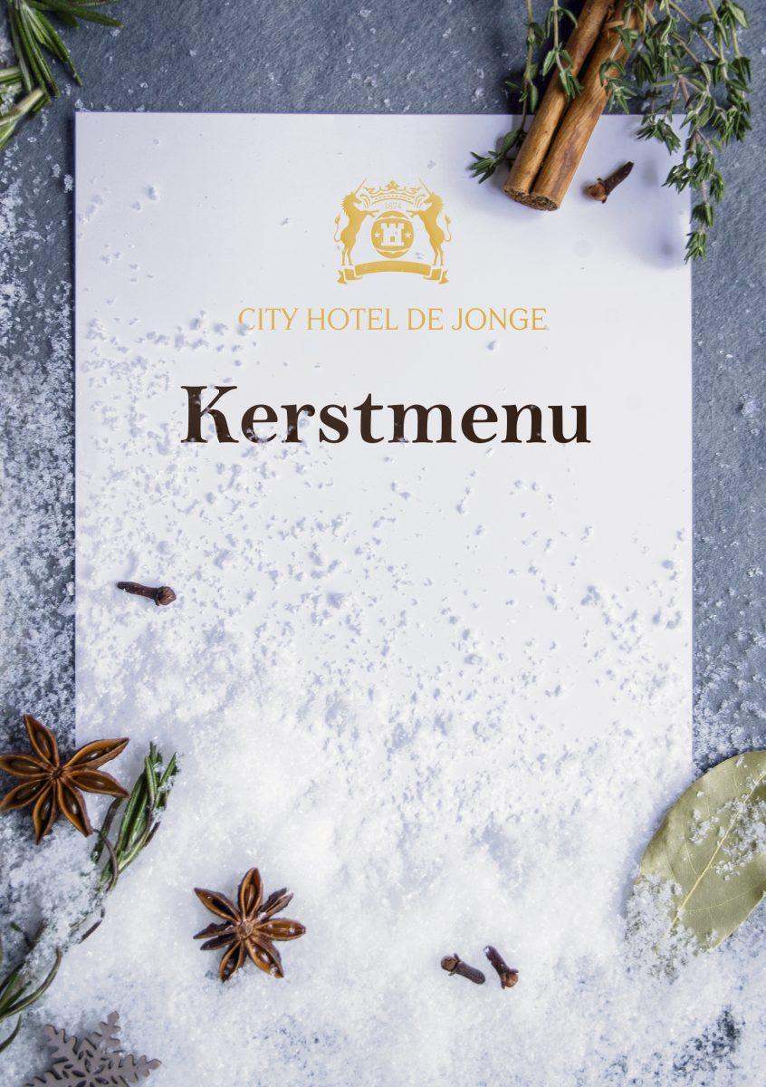 Kerstmenukaart Hotel de Jonge Voorkant