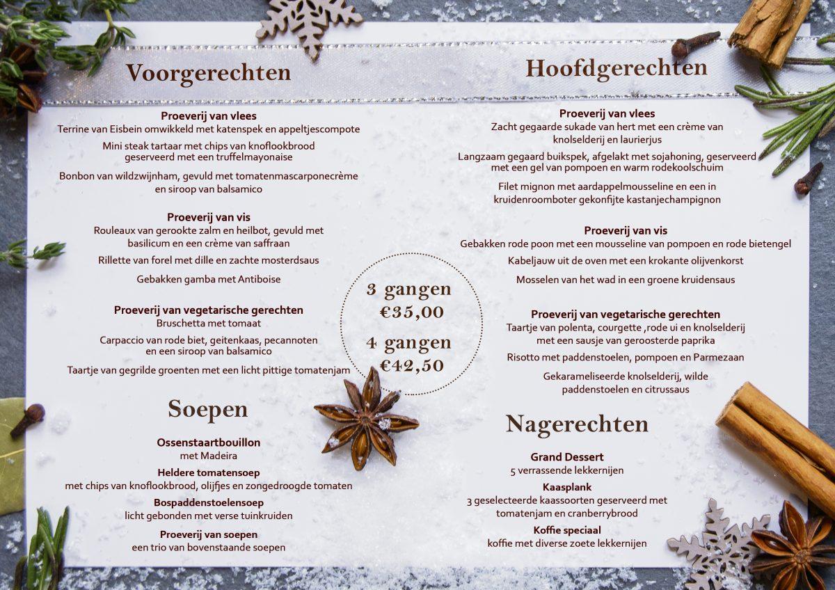 Kerstmenukaart Hotel de Jonge binnenkant